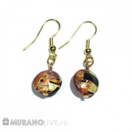 "Серьги ""Creative Gustav Klimt"" gloss, муранское стекло"