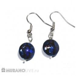 "Серьги ""Romantic night"" blue glowing, муранское стекло"