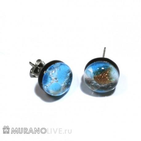 "Серьги-пуссеты ""Luxury of nature"" blue, муранское стекло"