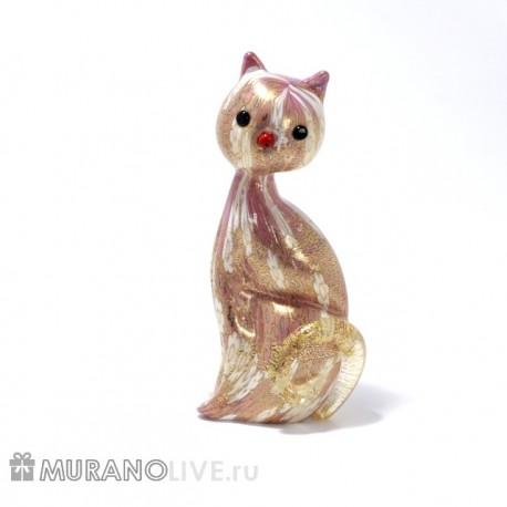 """Статуэтка """"Кошка"""" розовая с мурринами, муранское стекло"""