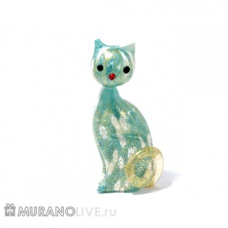 """Статуэтка """"Кошка"""" голубая с мурринами, муранское стекло"""