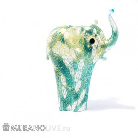 """Статуэтка """"Слоник"""" голубой с мурринами, муранское стекло"""
