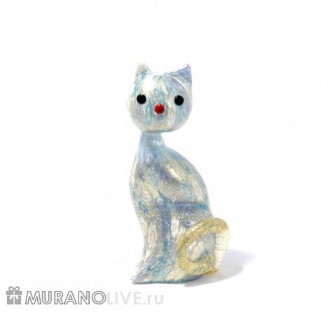 """Статуэтка """"Кошка"""" сиреневая с мурринами, муранское стекло"""
