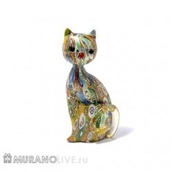 """Статуэтка """"Кошка"""" яркая с мурринами, муранское стекло"""