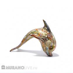 """Статуэтка """"Дельфин"""" яркий с мурринами, муранское стекло"""