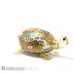 """Фигурка """"Морская черепаха"""" с мурринами, муранское стекло"""