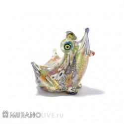 """Статуэтка """"Лягушка"""" яркая с мурринами, муранское стекло"""