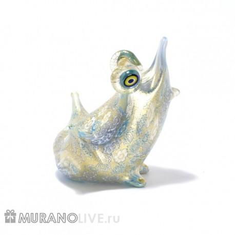 """Статуэтка """"Лягушка"""" голубая с мурринами, муранское стекло"""
