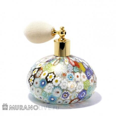 Пульверизатор для духов и туалетной воды с белой грушей распылителем, муранское стекло