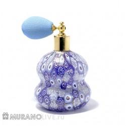 Пульверизатор для духов и туалетной воды с голубой грушей распылителем, муранское стекло